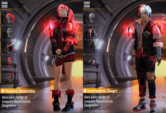 Free Fire skins de universitario sangriento del conjunto Academia Rebelde.