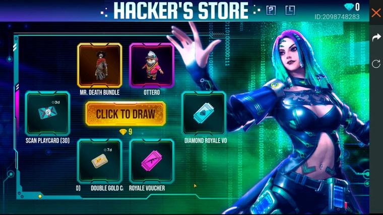 free fire evento tienda del hacker ruleta