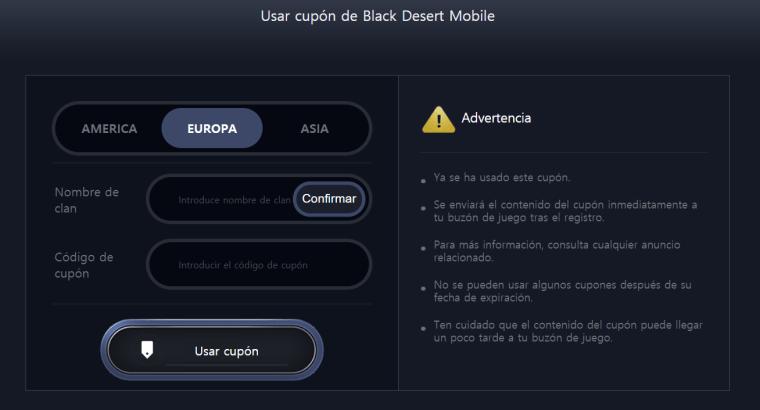 black desert mobile usar cupón