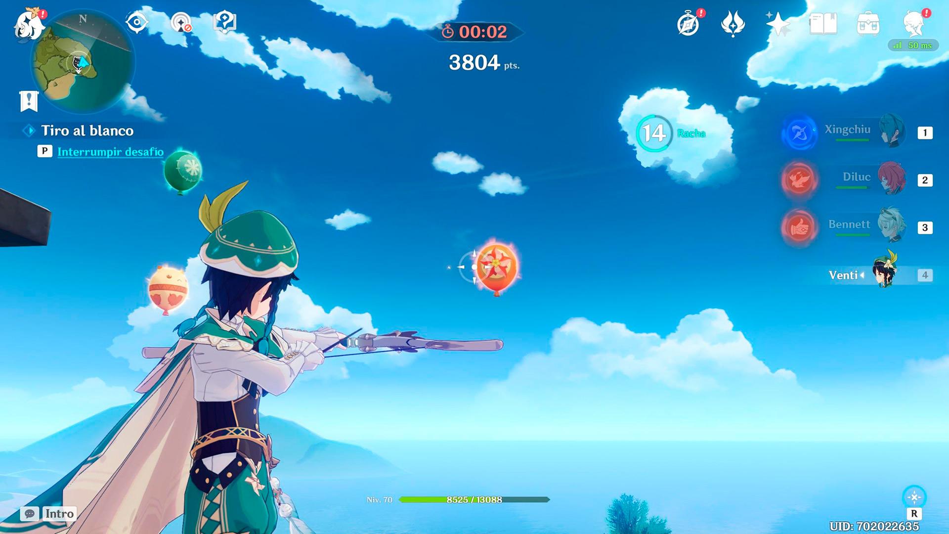 genshin impact desafío tiro al blanco vals de la torre disparando a globos