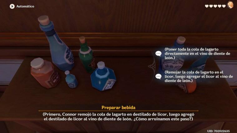 genshin impact recuerdo diona creando bebidas en la bodega del viñedo del amanecer