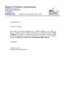 Letter from Call Committee 15 September