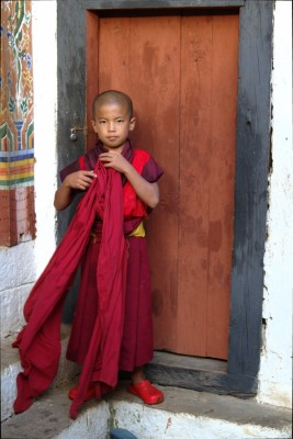 Jeune moine au Bhoutan