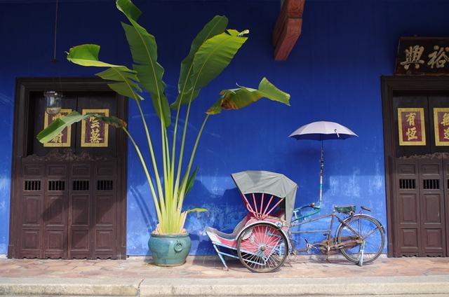Façade de la Maison bleue à Penang en Malaisie