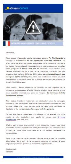 """1er mail automatique d'eDreams : """"Information importante concernant votre vol"""""""