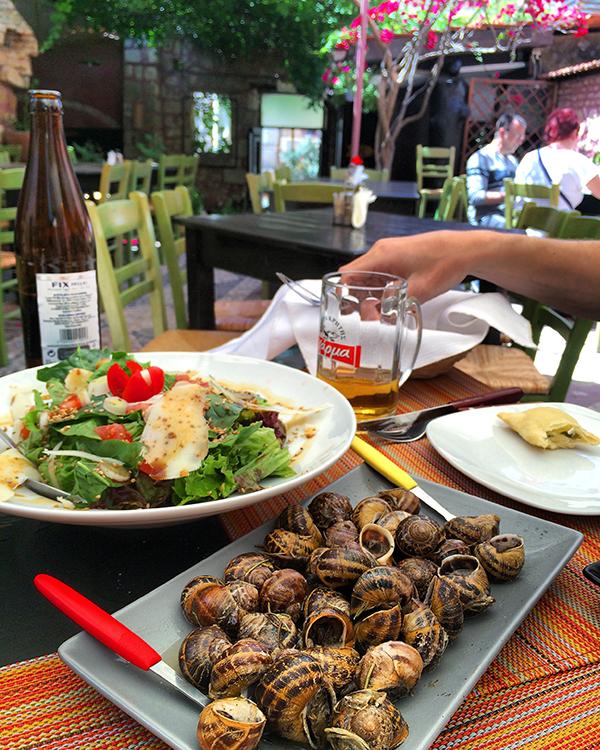 Escargots à la Crétoise chez Adespoto à La Canée (Chania)