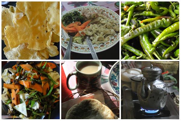 Echantillon de plats et nourriture typiques au Bhoutan