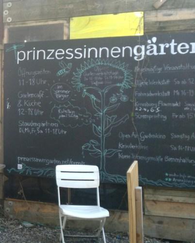 tableau à l'entrée du Prinzessinnengarten