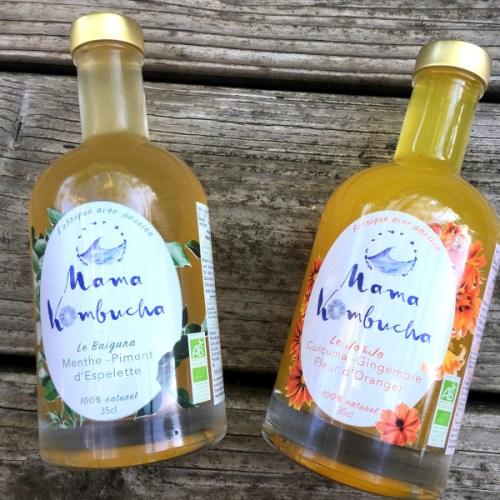 deux saveurs de kombuchas en bouteille