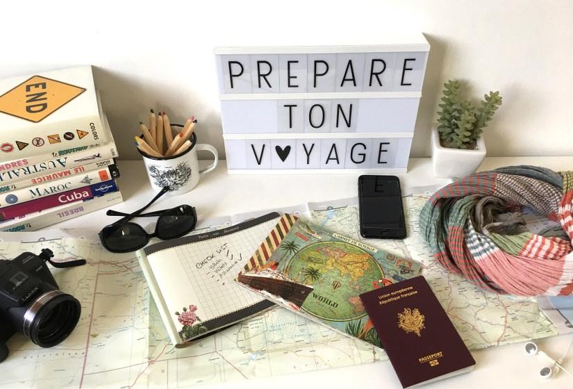 objets pour préparer votre voyage