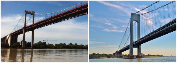 Les ponts suspendus de New York et Bordeaux