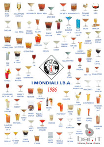 La copertina della dispensa dei cocktail I.B.A. 1986