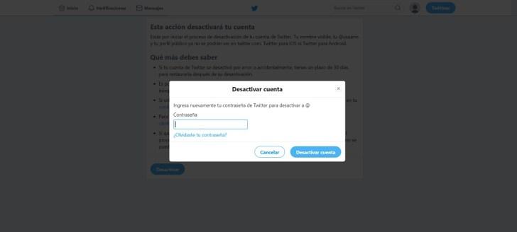 إلغاء تنشيط تويتر
