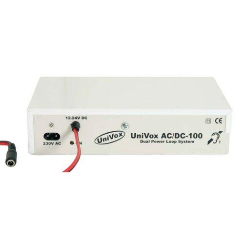 UNIVOX AC/DC 100 Amplificador de bucle para ascensores y vehículos, operado por batería y/o corriente eléctrica (IEC60118-4:07).