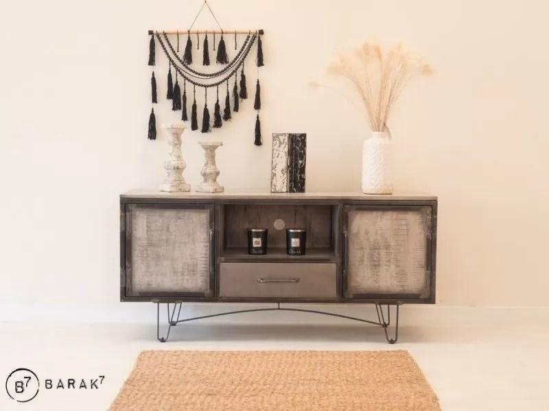 meuble tv industriel chic grey