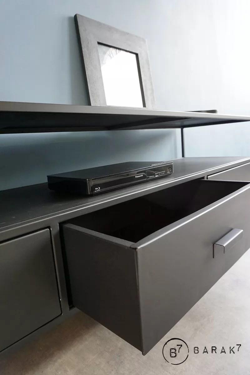 meuble tv industriel metal noir new york 3 tiroirs