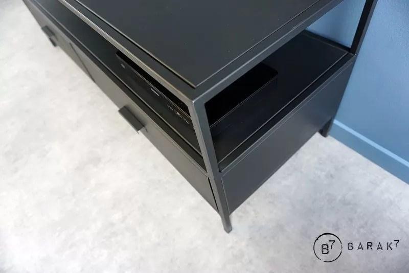 meuble tv industriel metal noir new york 2 tirois