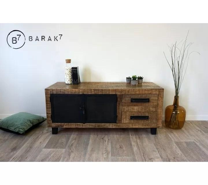 meuble tv bois metal brooklyn 115 cm