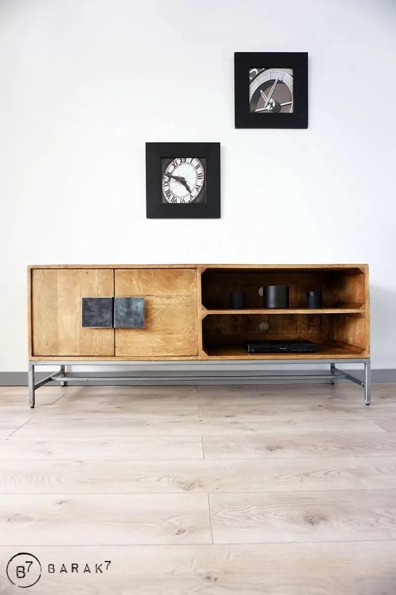 meuble tv bois metal exotique chic
