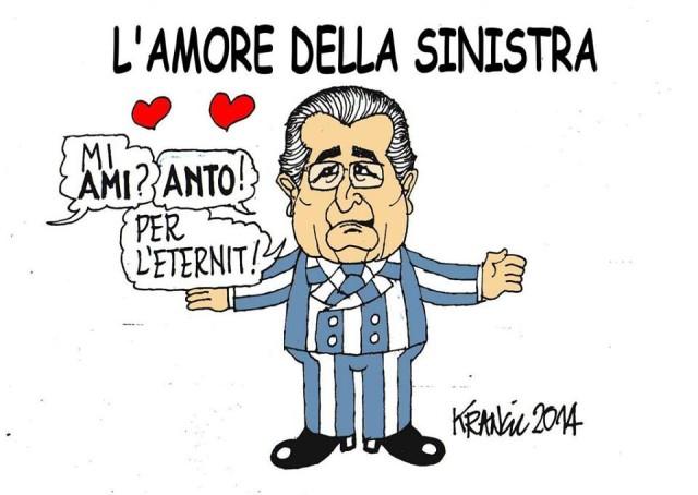 Una nuova vignetta di Alfio Krancic sulle disavventure di Carlo De Benedetti, industriale, tessera numero 1 del Pd ed editore de La Repubblica