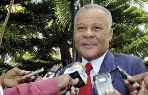 Former Opposition Leader, Owen Arthur speaking to reporters today after the swearing-in of he and his colleagues.