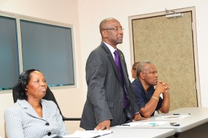 Minister of Culture, Sports and Youth, Stephen Lashley (centre), Permanent Secretary of Culture and Sports, Ernesta Drakes (left) and Permanent Secretary, Irvine Best.