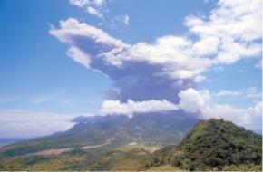 Ash clouds over Antigua (Photo courtesy Antigua and Barbuda government)