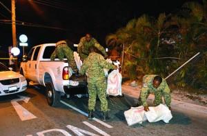 Bahamas police rescue marijuana haul.