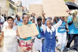 Residents march for peace.