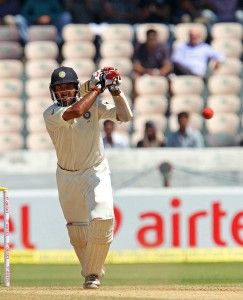 India's Cheteshwar Pujara on his way to his second Test double century today.