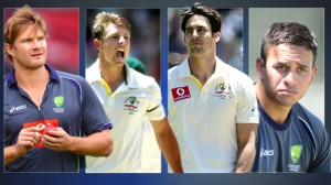 (From left) Shane Watson, James Pattinson, Mitchell Johnson, Usman Khawaja.