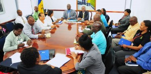Officials meeting at Ministry of Education this morning.