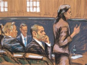 "Federal Defender Julia Gatto (R) speaks to the court as former New York City police officer Gilberto Valle (C), dubbed by local media as the ""Cannibal Cop"", listens in this courtroom sketch on the first day of his trial in New York February 25, 2013."