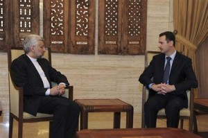 Syria's President Bashar al-Assad meets Iran's Supreme National Security Council Secretary Saeed Jalili in Damascus