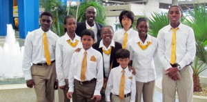 Barbados' chess team – (l-r) Orlando Husbands, Lydia Nurse, Trevor Griffith, Kyle Sandiford, Hetty Wilson, Yutien Poon, Leigh Sandiford, Gabriella Cumberbatch and Allon Richards.