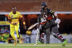 Chennai's Dwayne Bravo (left) took two wickets today to join Sunil Narine on 14 at the top of the wicket-takers table.