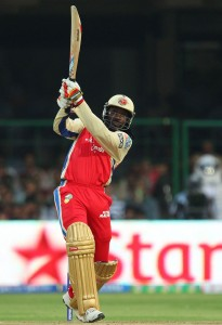 Chris Gayle sends another ball into the stands.