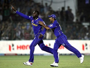 Kevon Cooper (left) was outstanding with the ball again for Rajasthan Royals.