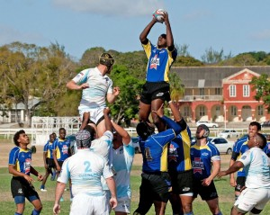 Barbados' Mario Holder (with ball) wins a lineout for his team.