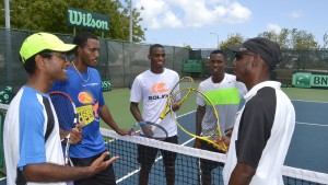 (L-R) Davis Cup team: Russell Moseley, Haydn Lewis, Darian King, Seanon Williams and non-playing captain Kevin Yarde.