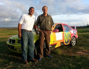 Trevor Manning (right) and Derek Edwards with the BMW M3 in which they will compete.