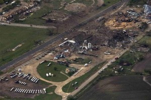 Aerial view of fertilizer plant after explosion.