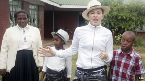 US singer Madonna (third left) during a recent visit to Malawi.
