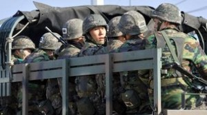 South Korean troops on the move.