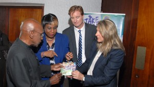 NEW MONEY Barbadians will soon get their hands on new money for the first time in 40 years. Getting the first feel of the notes launched today, were the Central Bank's Dr. DeLisle Worrell, Octavia Gibson, and De La Rue's Matt West and Ruth Euling.