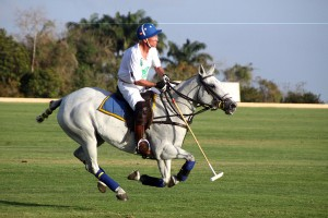 Veteran race horse owner Sir Charles Williams with one of his other loves – polo.