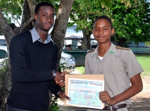 Romario King, 3-5, received 80 per cent or more in four subjects.