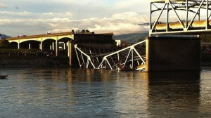 Section of collapsed bridge.