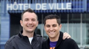 First homosexual couple to be married in France.
