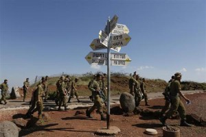 Israeli soldiers on the Golan Heights.